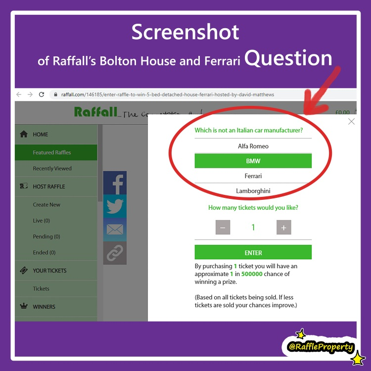 Screenshot by Ida Barker of raffall's 5 bedroom house and Ferrari property competition, showing the competition question and correct answer submitted by entrant Ida Barker
