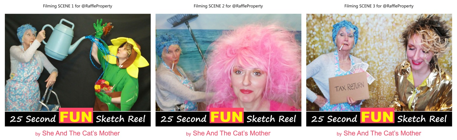 """Photos showing 3 behind the scenes of a 25 second FUN video sketch reel, titled: """"Best Time to Start Selling Tickets for Property Raffles and House Competitions"""". Performed and produced by mother and daughter, Gwen Hullah and Ida Barker from She And The Cat's Mother"""