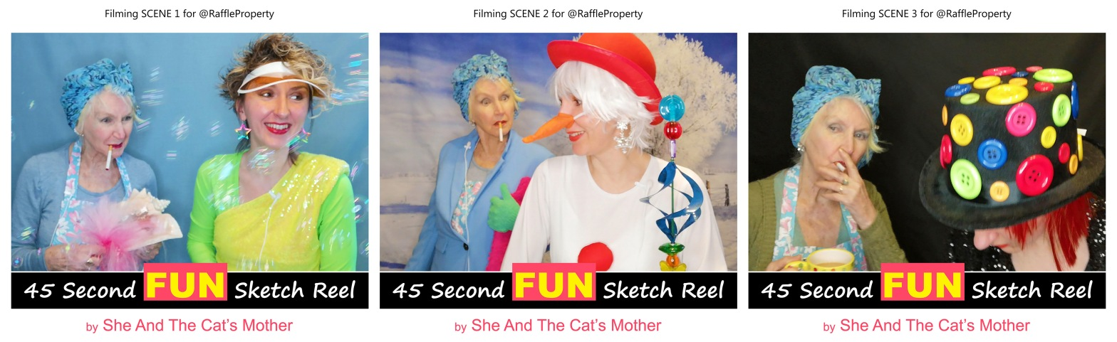 """Photos showing 3 behind the scenes of a 45 second FUN video sketch reel, titled: """"The difference between a property raffle and a house competition"""". Performed and produced by mother and daughter, Gwen Hullah and Ida Barker from She And The Cat's Mother"""
