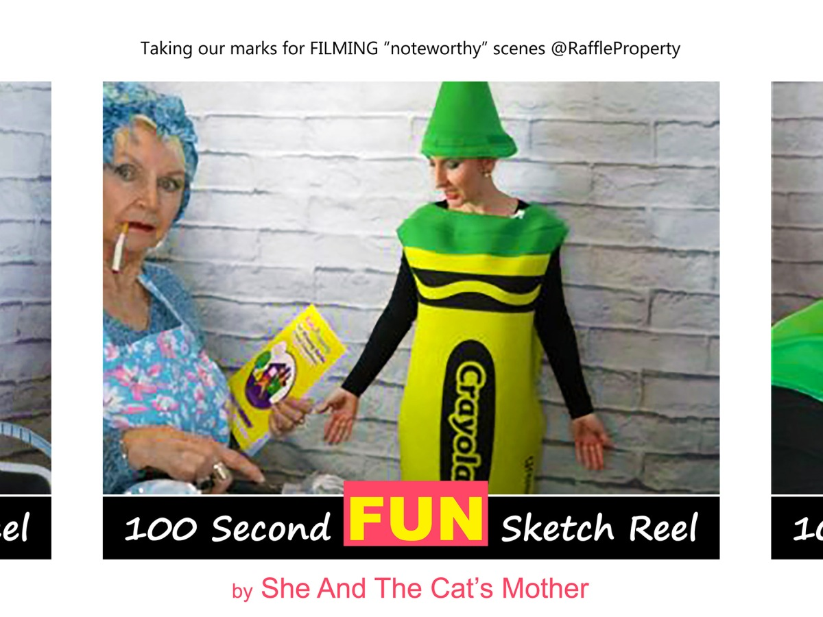 """Photos showing 3 behind the scenes of a 100 second FUN video sketch reel, titled: """"Noteworthy, Choice Your Chance of Successfully Winning a House"""". Performed and produced by mother and daughter, Gwen Hullah and Ida Barker from She And The Cat's Mother; guest appearance from their tabby cat, Purrdey (Ida is dressed as a green Crayola; fancy dress outfit)"""